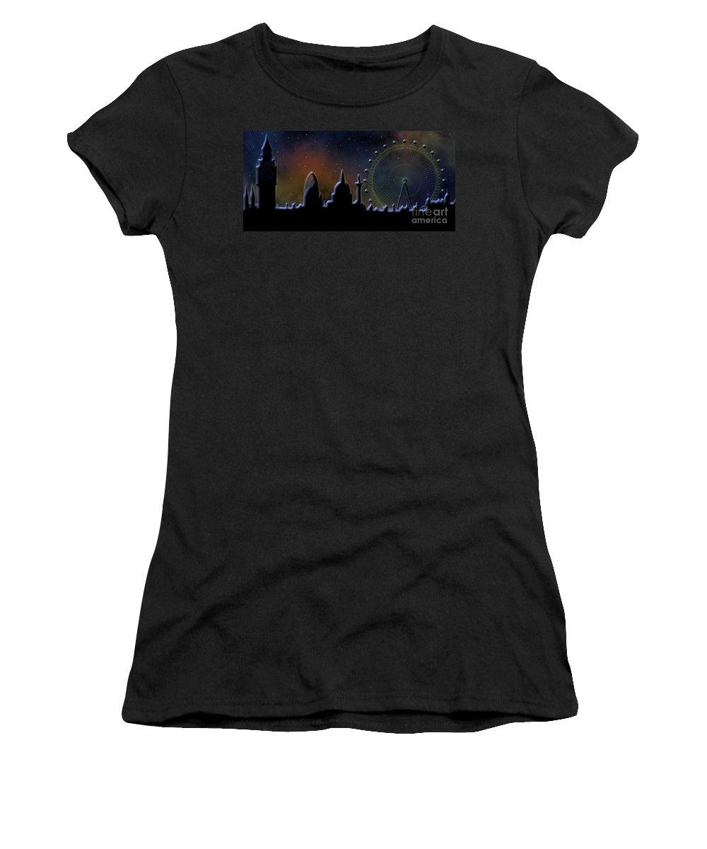 London Women's T-Shirt (Athletic Fit) featuring the digital art London Skyline by Michal Boubin
