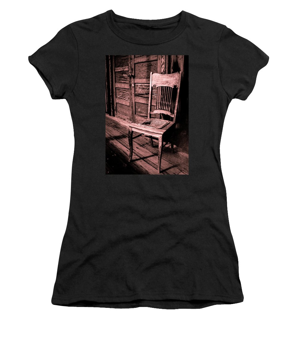 Loomis Ranch Women's T-Shirt (Athletic Fit) featuring the photograph Loomis Ranch Chair by Janine Moore