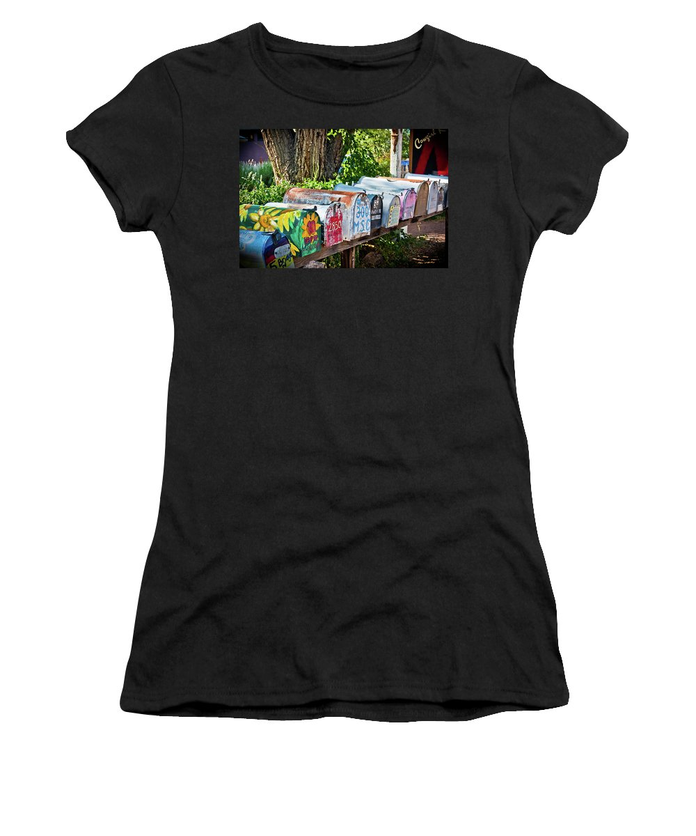 Mailboxes Women's T-Shirt (Athletic Fit) featuring the photograph Madrid Mailboxes by Jill Smith