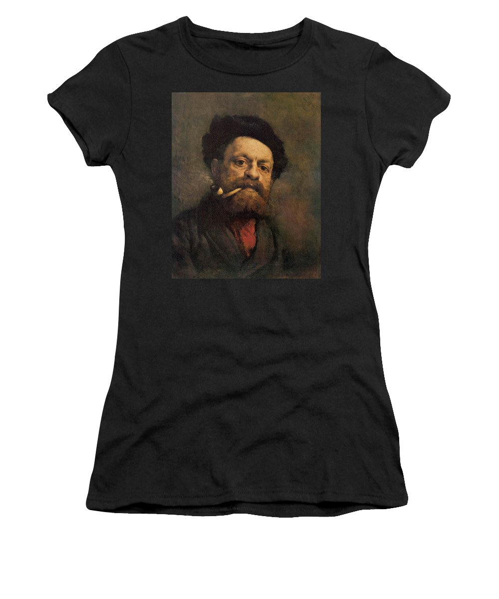 Man With A Pipe Women's T-Shirt (Athletic Fit) featuring the painting Man With A Pipe by Gustave Courbet