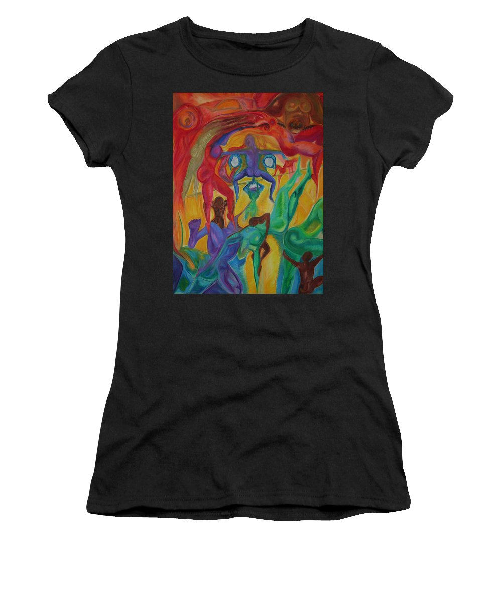 Mann In The Middle Women's T-Shirt (Athletic Fit) featuring the pastel Mann I The Middle by Sitara Bruns