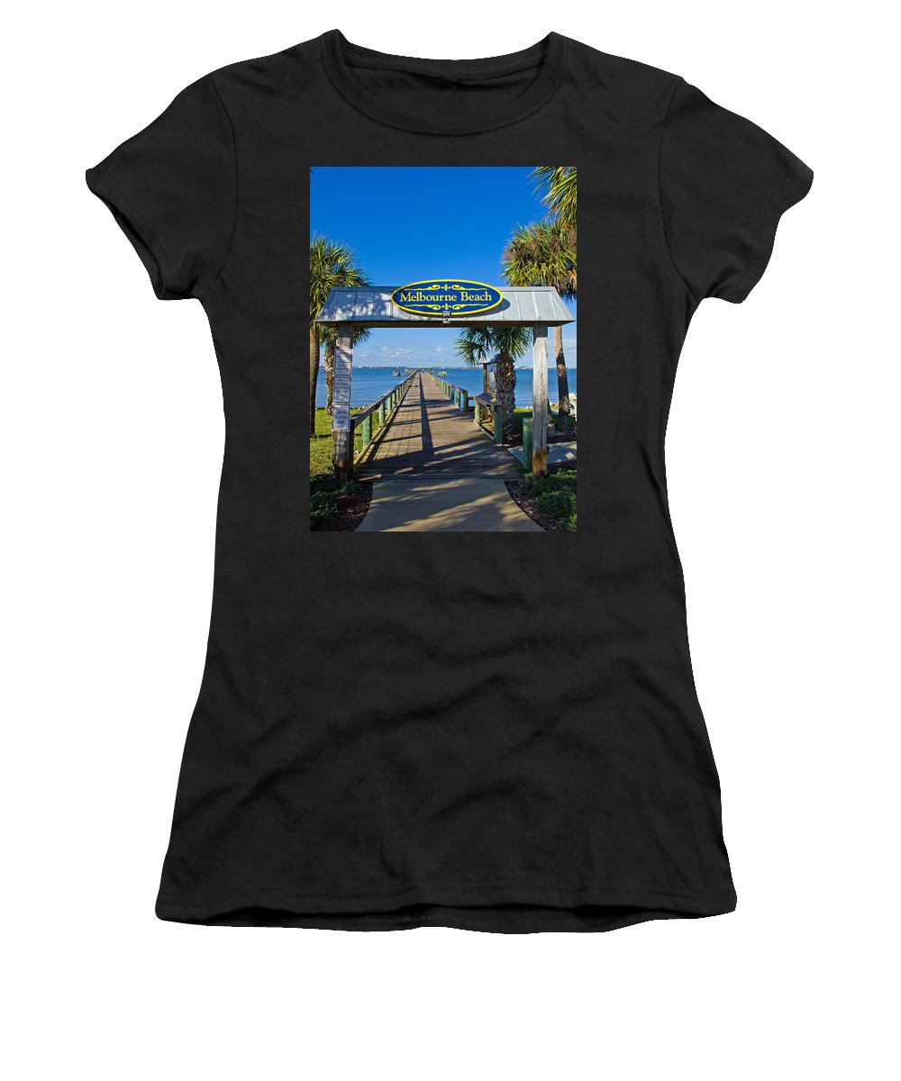 Florida; Melbourne; Beach; Atlantic; Coast; East; Space; Pier; Pineapples; Steamboat; Load; Cargo; I Women's T-Shirt (Athletic Fit) featuring the photograph Melbourne Beach Florida by Allan Hughes