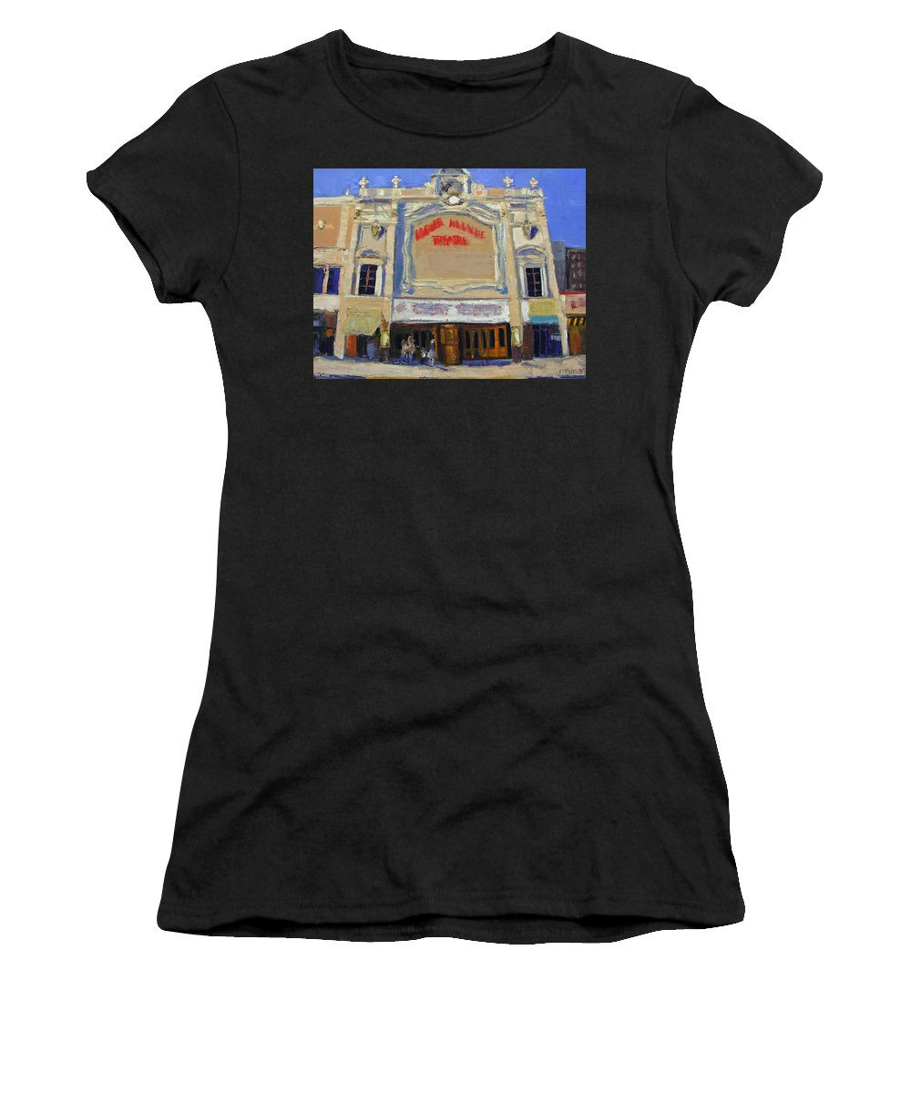 Movies Women's T-Shirt (Athletic Fit) featuring the painting Memories Loews Paradise Bronx by Gail Eisenfeld