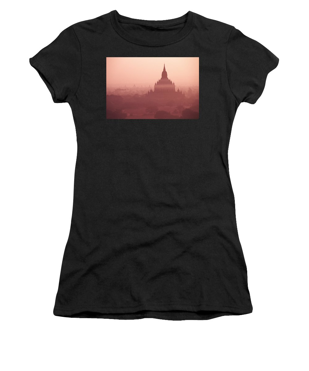 Mist Women's T-Shirt (Athletic Fit) featuring the photograph Misty Dawn In Bagan by Michele Burgess