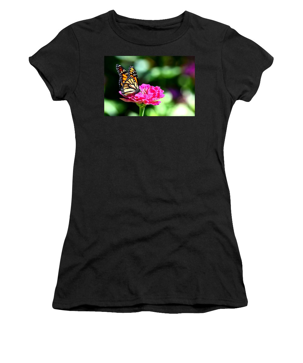 Monarch Women's T-Shirt featuring the photograph Monarch Butterfly On Pink Flower by Reva Steenbergen