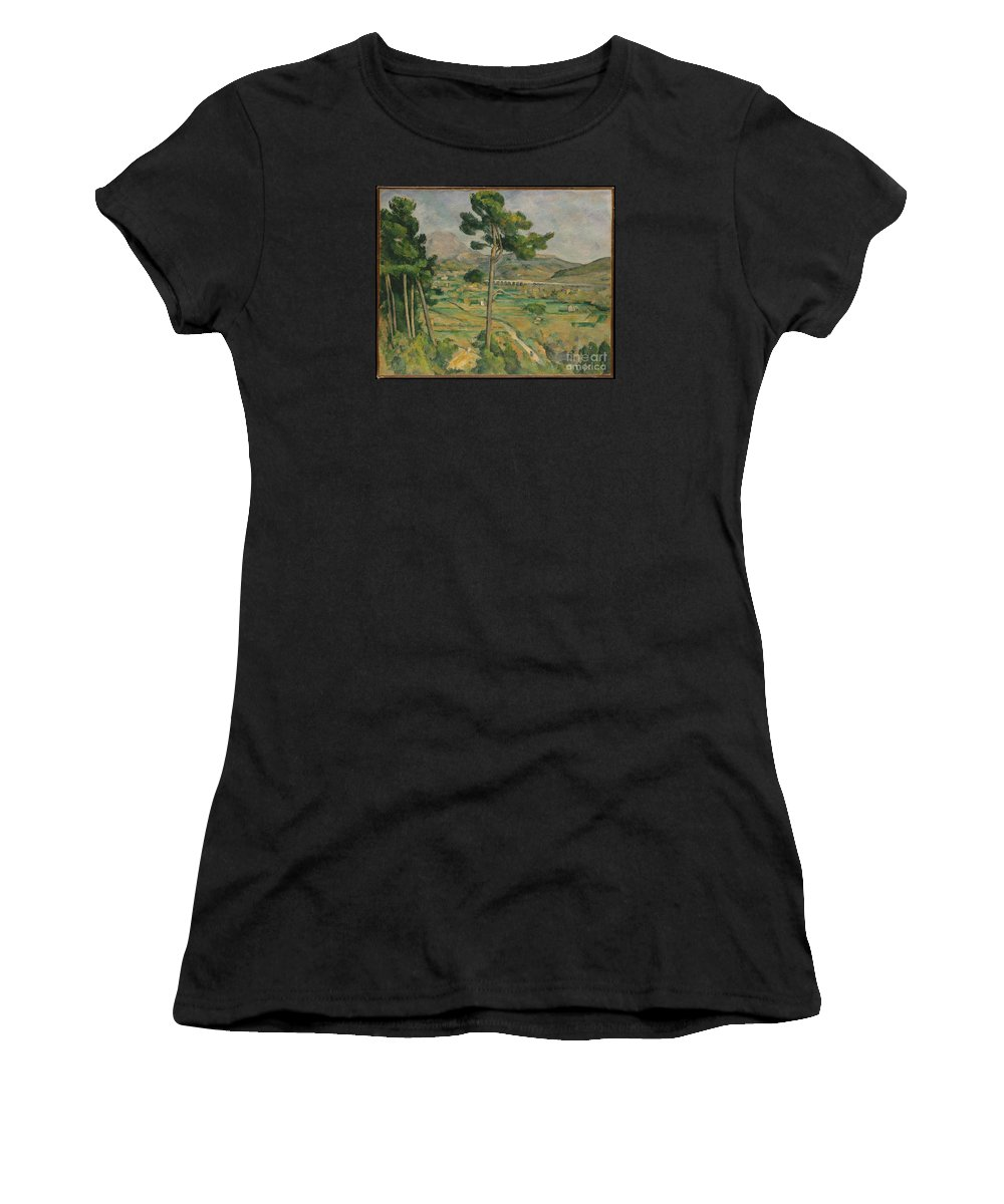 Mont Sainte-victoire And The Viaduct Of The Arc River Valley Artist Paul C�zanne Women's T-Shirt (Athletic Fit) featuring the painting Mont Sainte-victoire And The Viaduct Of The Arc River Valley by Celestial Images
