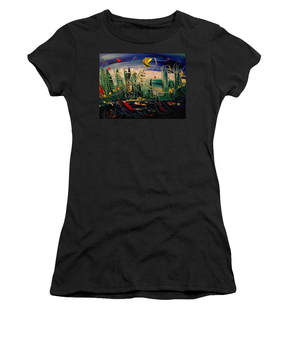 Amazing Framed Prints Women's T-Shirt (Athletic Fit) featuring the painting Moon City by Mark Kazav
