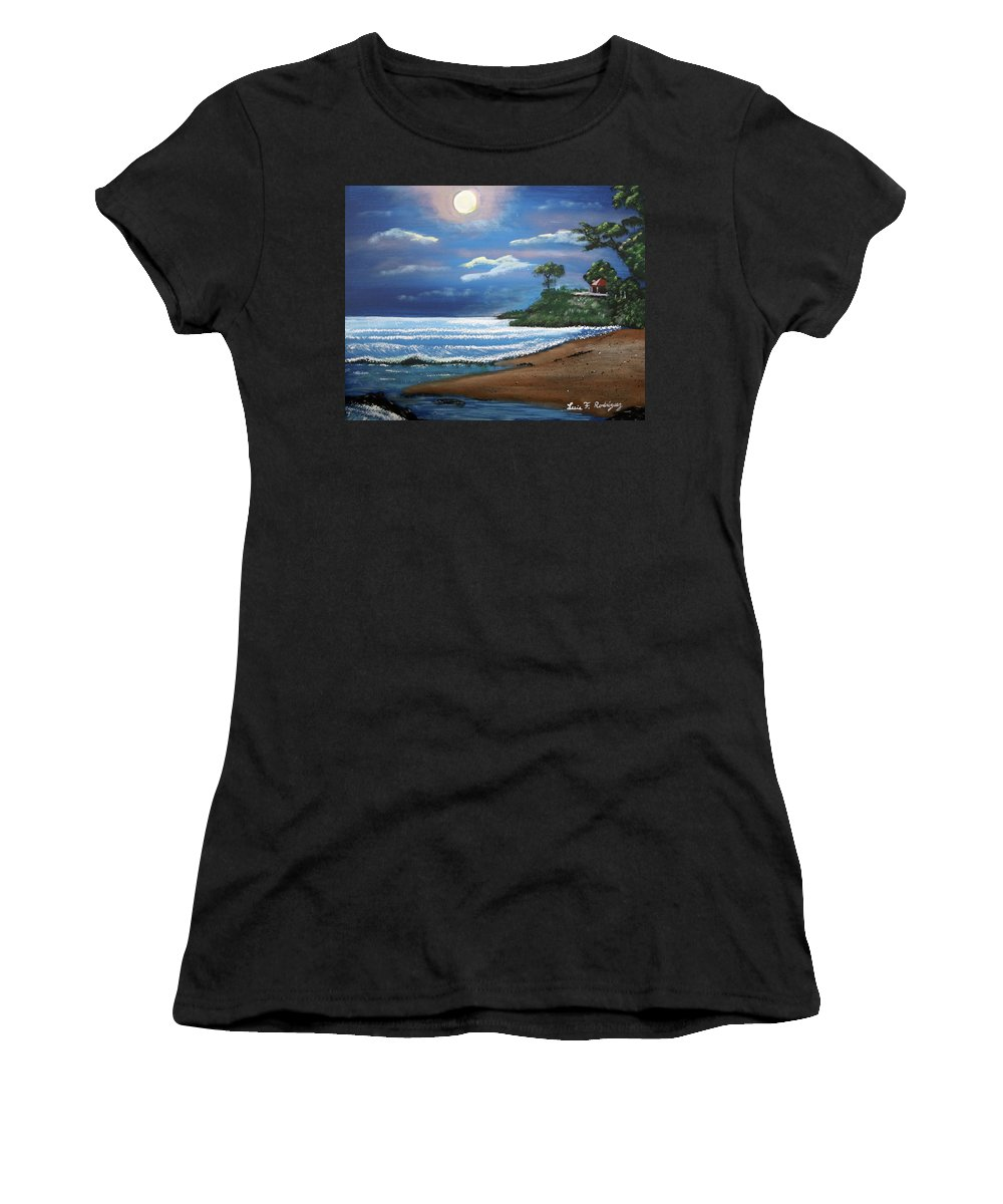 Moonlight Women's T-Shirt (Athletic Fit) featuring the painting Moonlight In Rincon II by Luis F Rodriguez