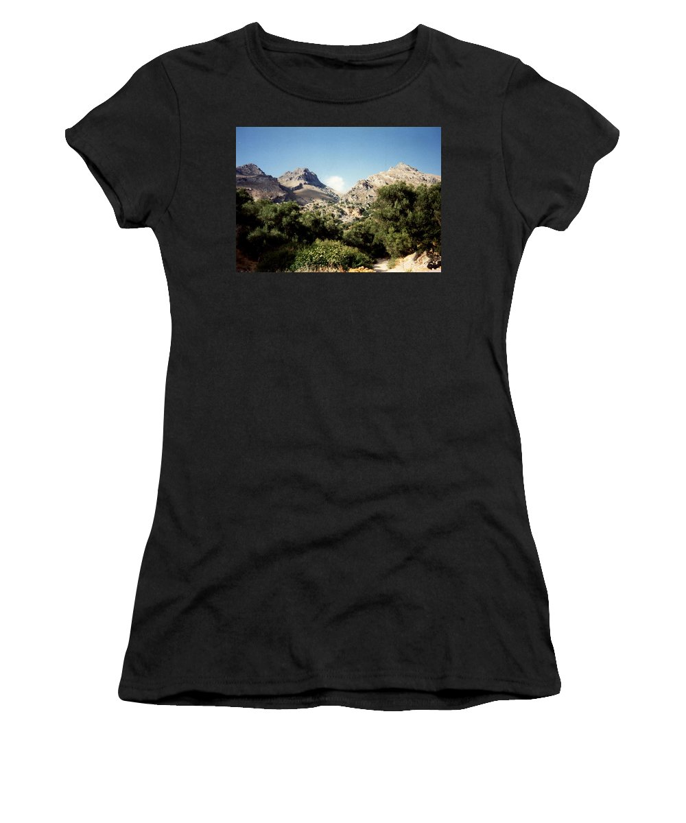 Mountains Women's T-Shirt (Athletic Fit) featuring the photograph Mountains by Catt Kyriacou