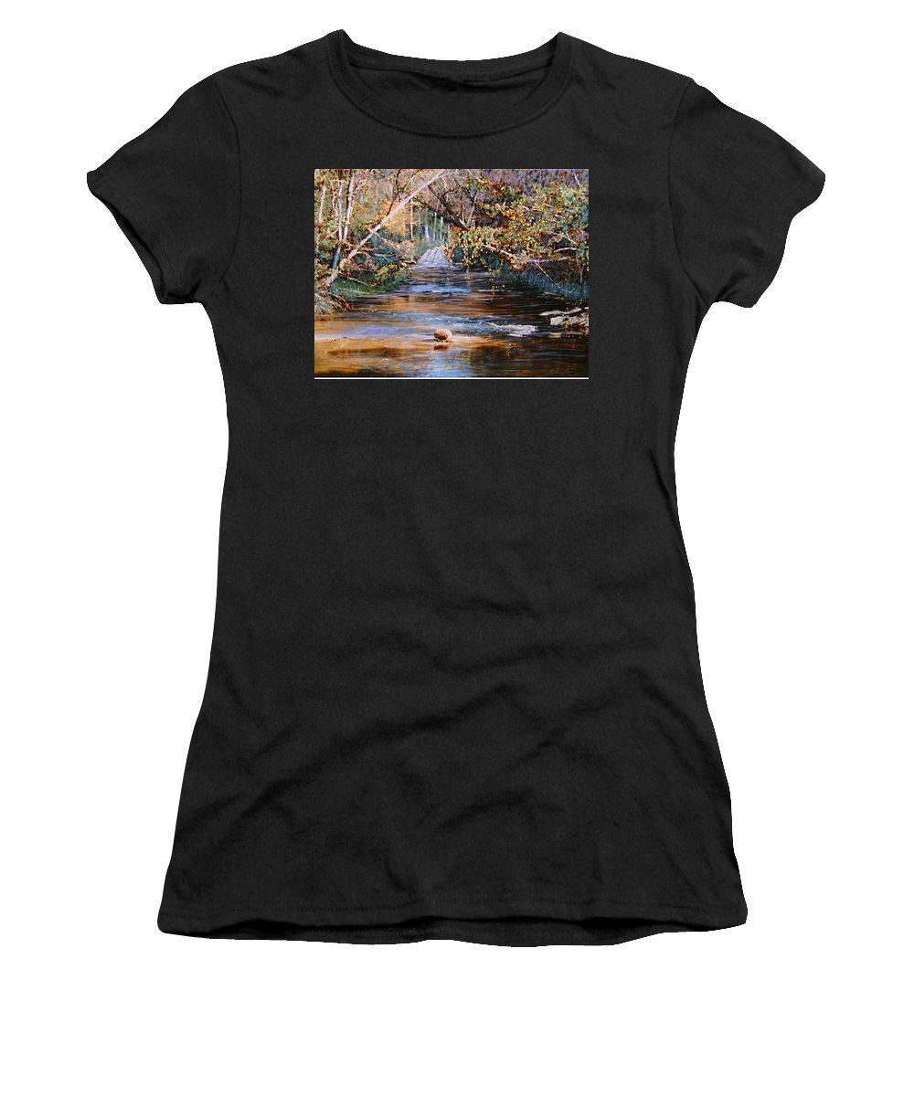 River; Waterfalls Women's T-Shirt featuring the painting My Secret Place by Ben Kiger