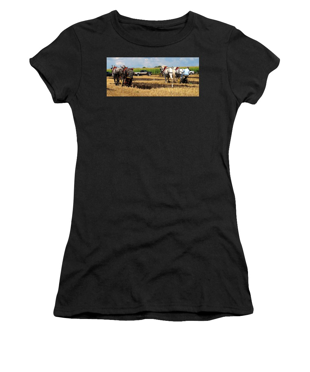 Horses Women's T-Shirt featuring the photograph Neck And Neck by Ian MacDonald