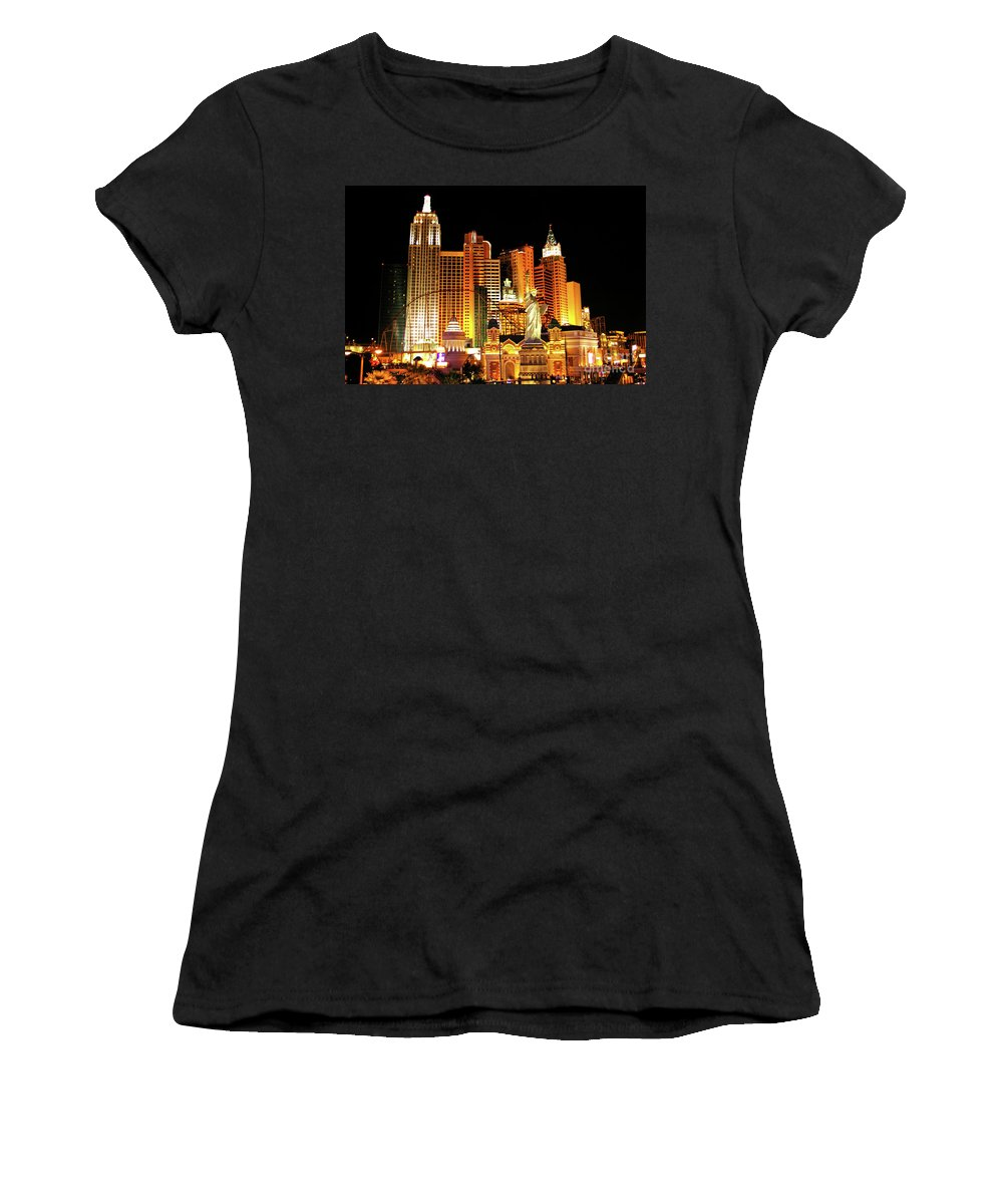 New York New York Hotel Women's T-Shirt (Athletic Fit) featuring the photograph New York New York Hotel by Mariola Bitner