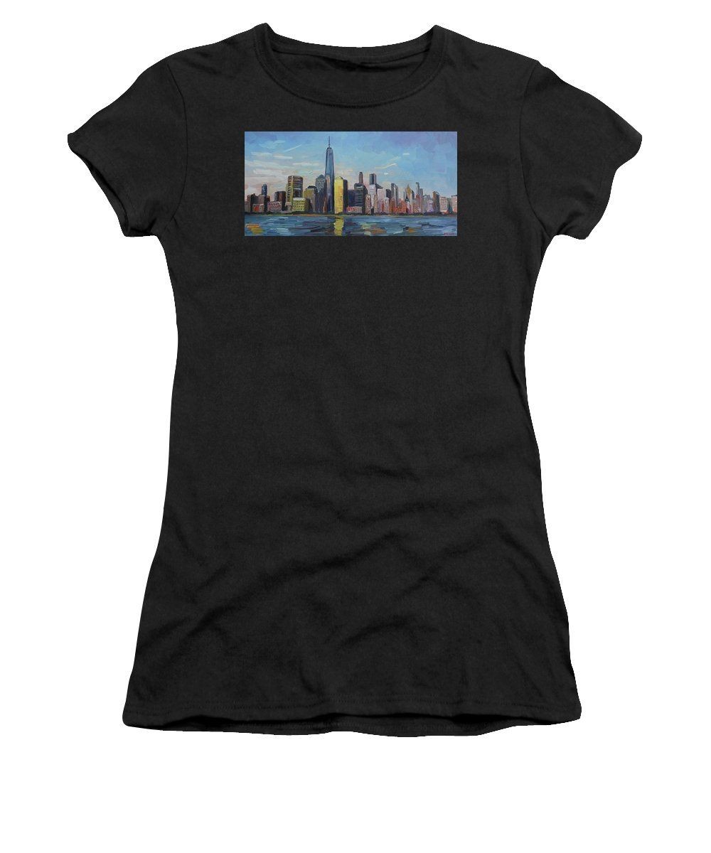 New York Women's T-Shirt (Athletic Fit) featuring the painting New York Skyline by John Kilduff