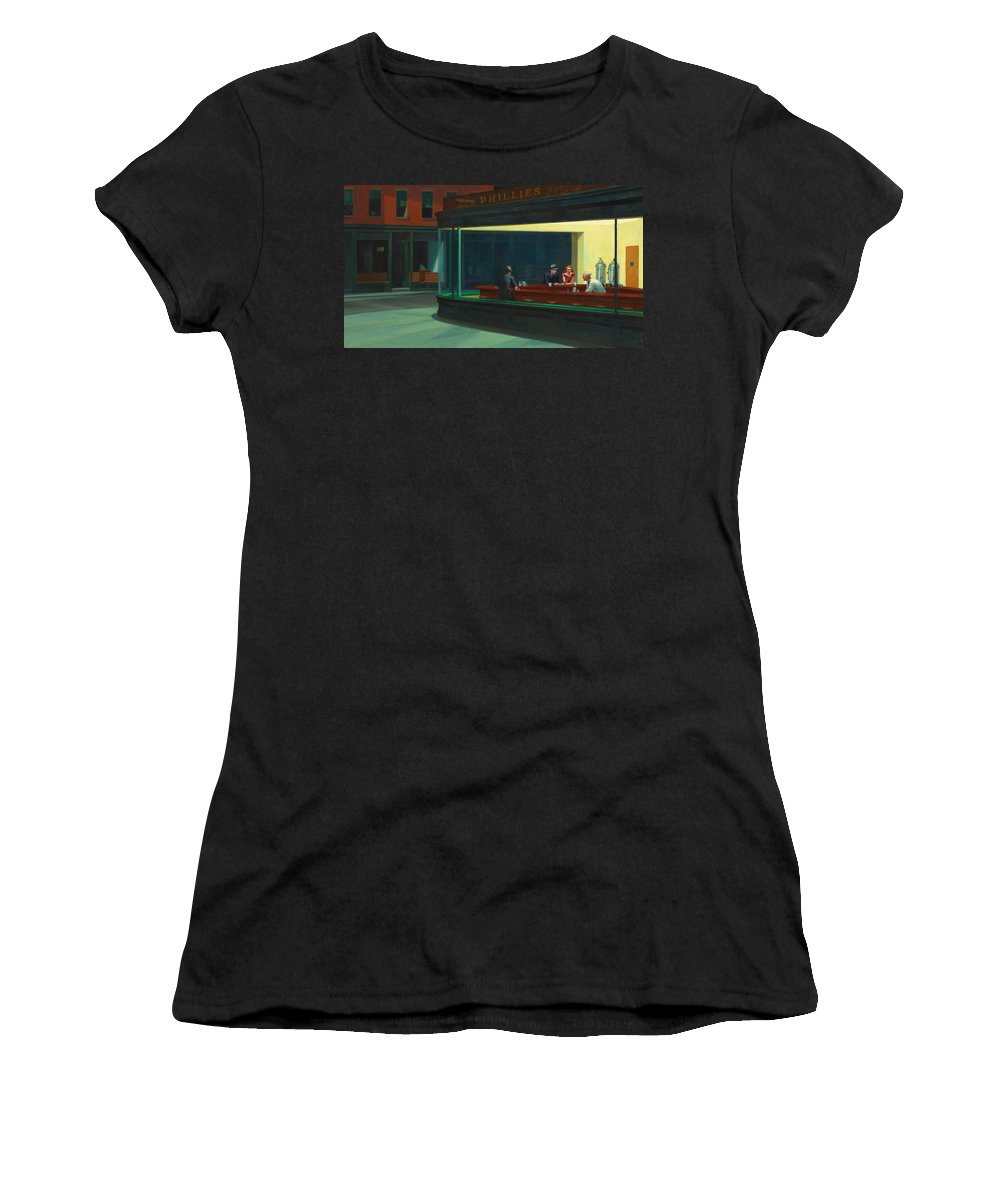 Nighthawks Women's T-Shirt featuring the photograph Nighthawks by Edward Hopper