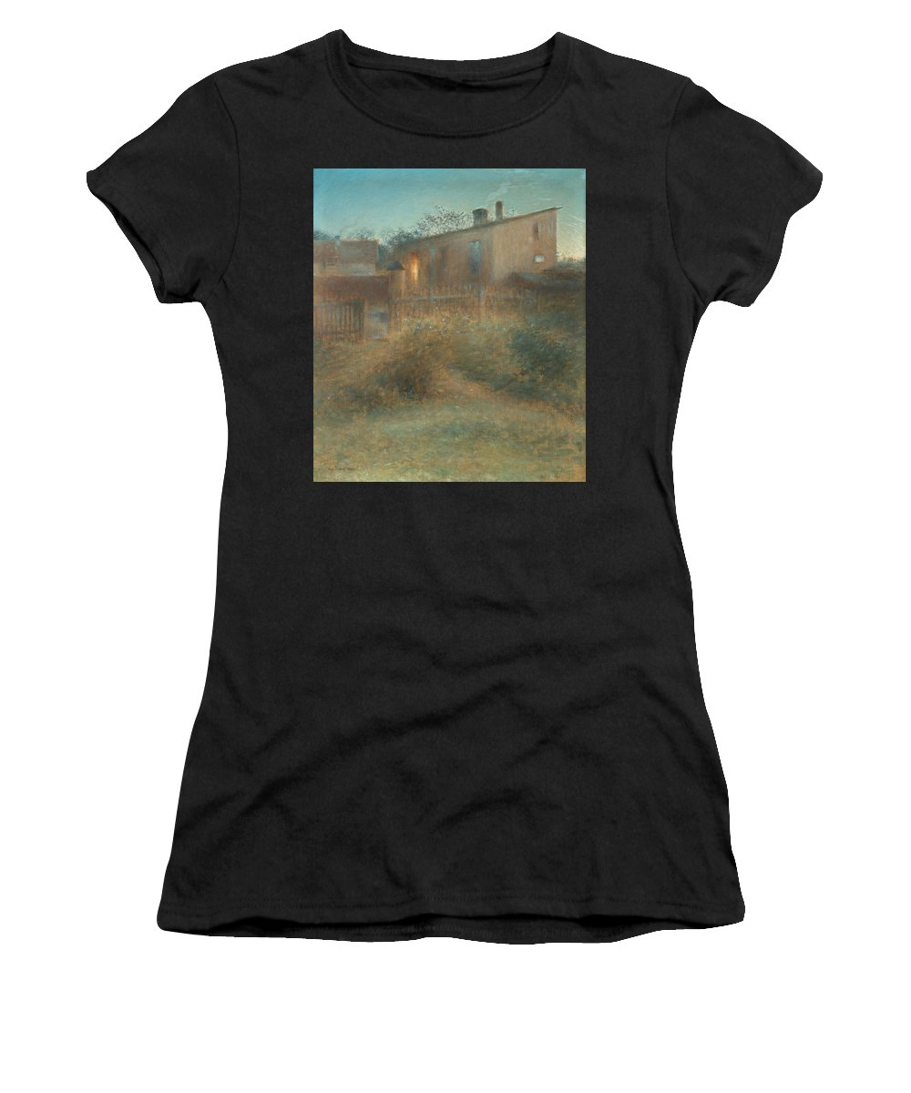 Nature Women's T-Shirt (Athletic Fit) featuring the painting Nils Kreuger,  Dusk by Nils Kreuger