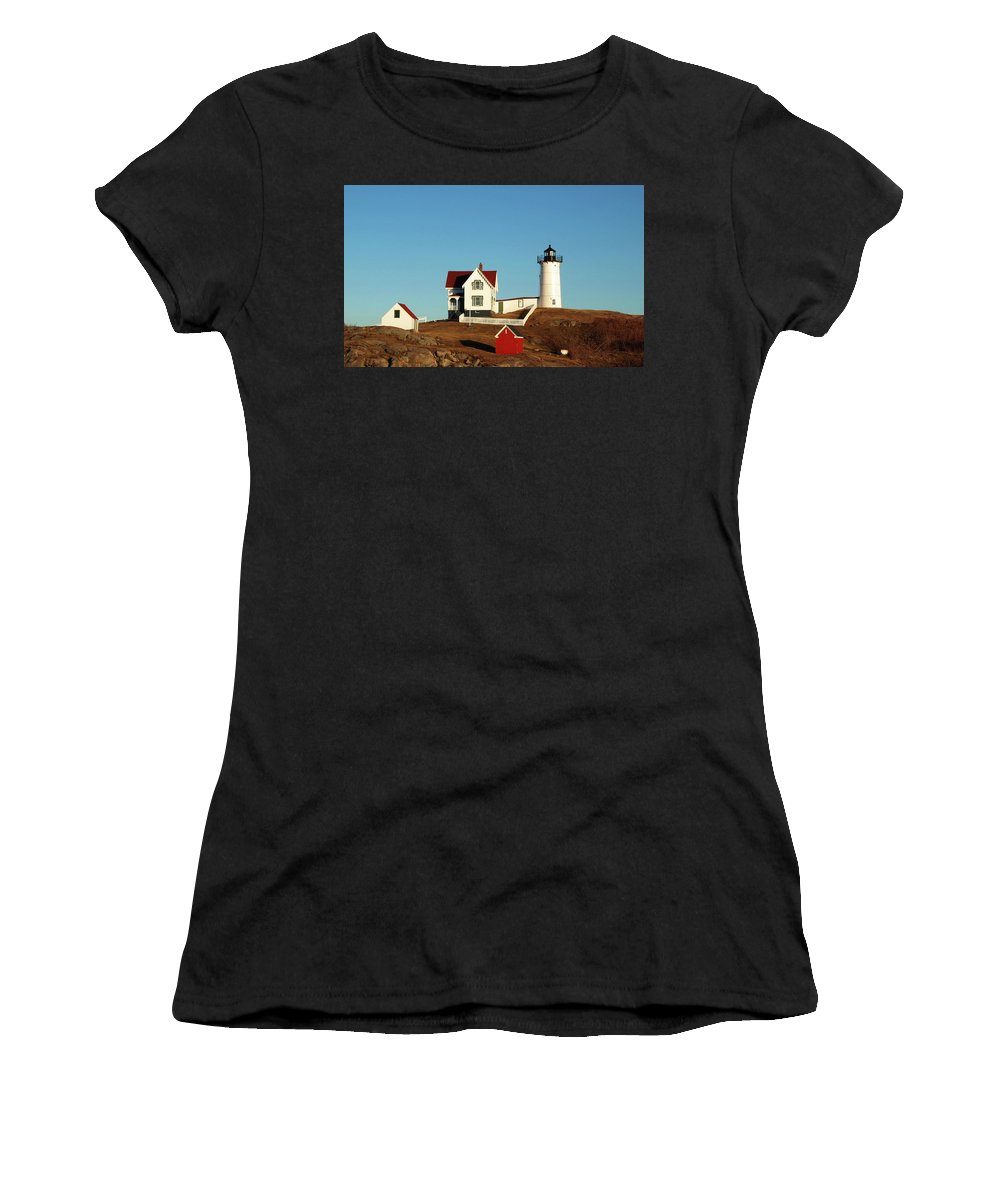 Nubble Women's T-Shirt (Athletic Fit) featuring the photograph Nubble Light House by Mary Capriole