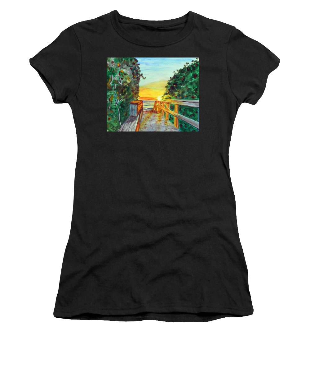 Wgilroy Women's T-Shirt featuring the painting ocean / Beach crossover by MGilroy