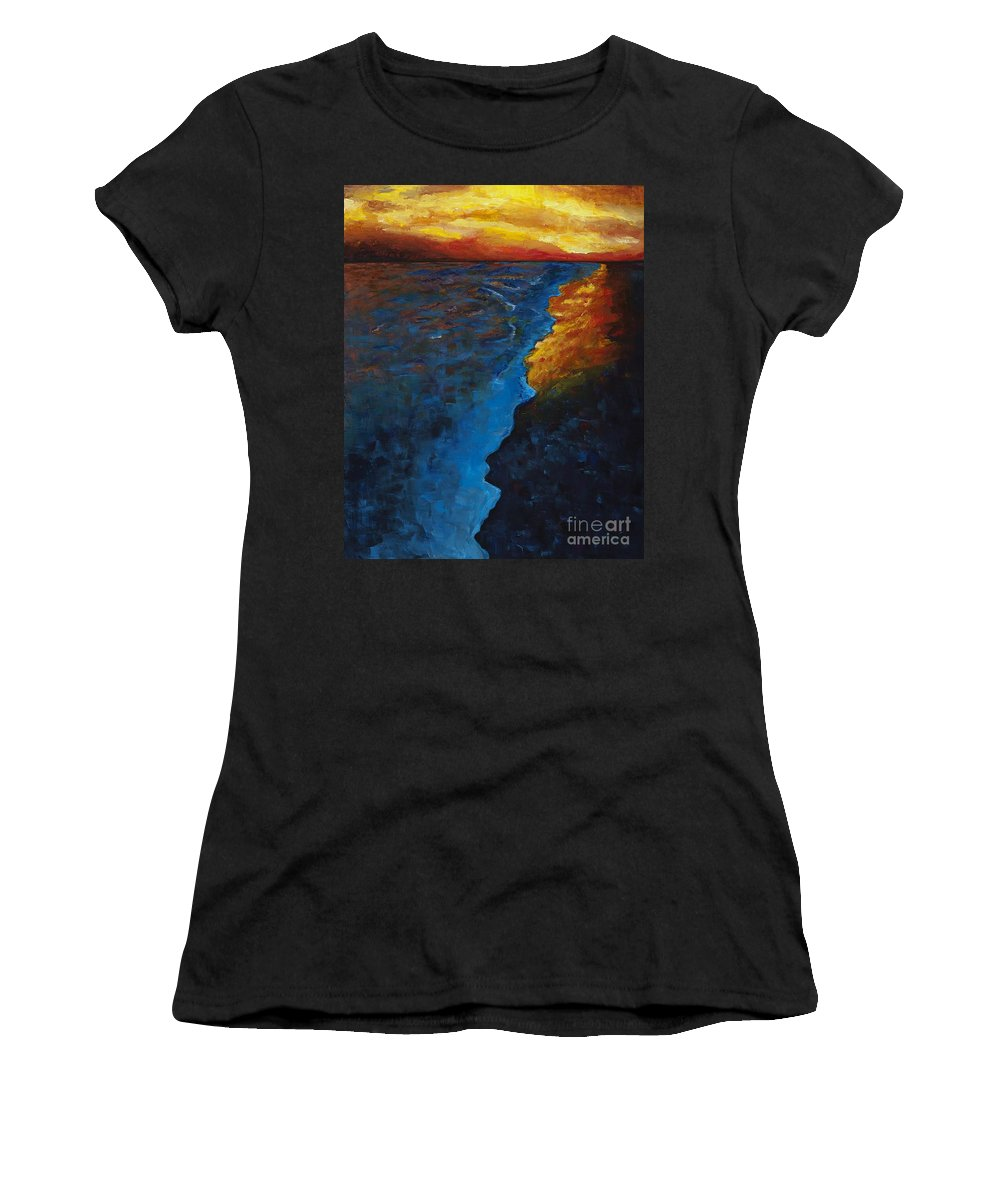 Abstract Ocean Women's T-Shirt featuring the painting Ocean Sunset by Frances Marino