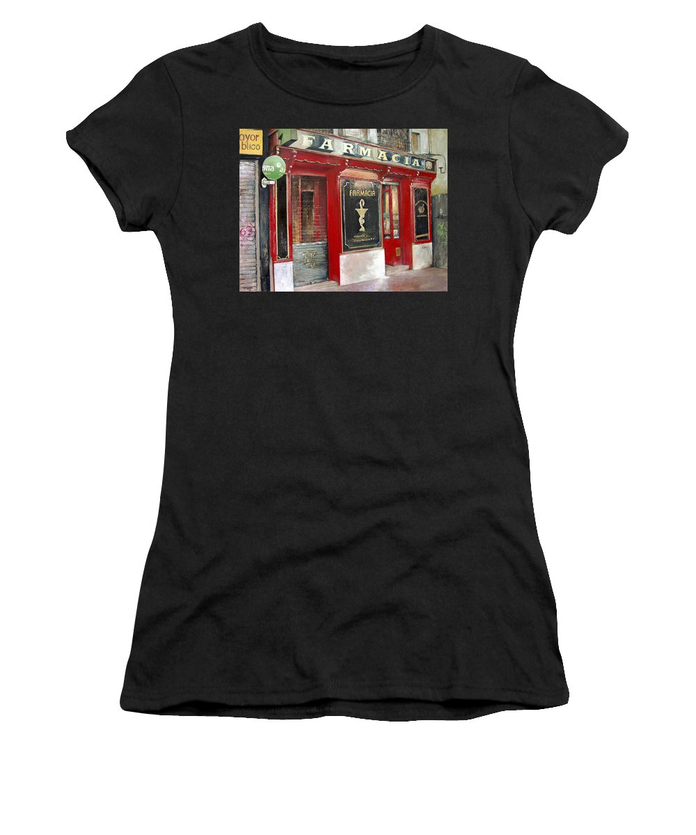 Farmacia Women's T-Shirt featuring the painting Old Pharmacy by Tomas Castano