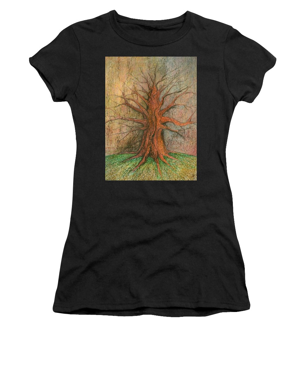 Colour Women's T-Shirt (Athletic Fit) featuring the painting Old Tree by Wojtek Kowalski