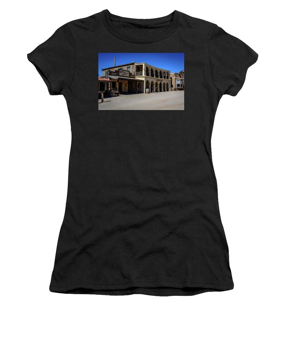 Old Tucson Women's T-Shirt (Athletic Fit) featuring the photograph Old Tucson - Arizona by Jon Berghoff