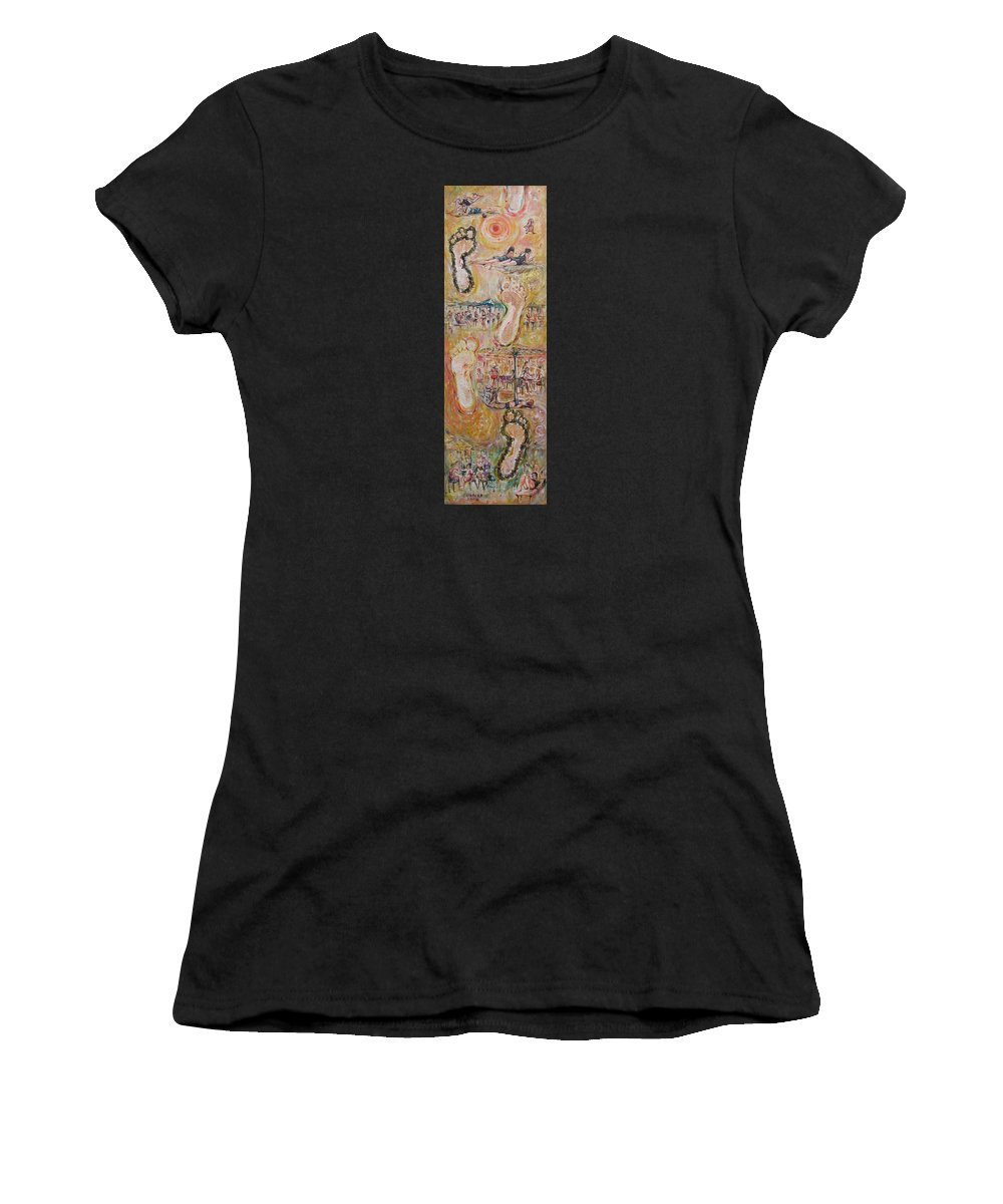 On The Beach Women's T-Shirt (Athletic Fit) featuring the painting On The Beach 2 by Sukalya Chearanantana