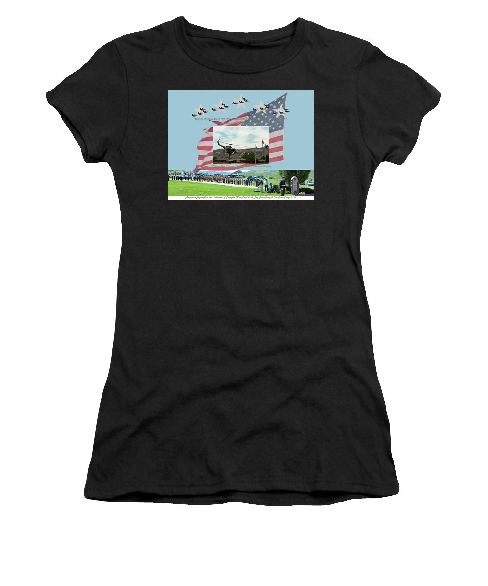 Memorial Day Formation Of American Legion Post 44 Women's T-Shirt featuring the digital art Our Memorial Day Salute by Daniel Hebard
