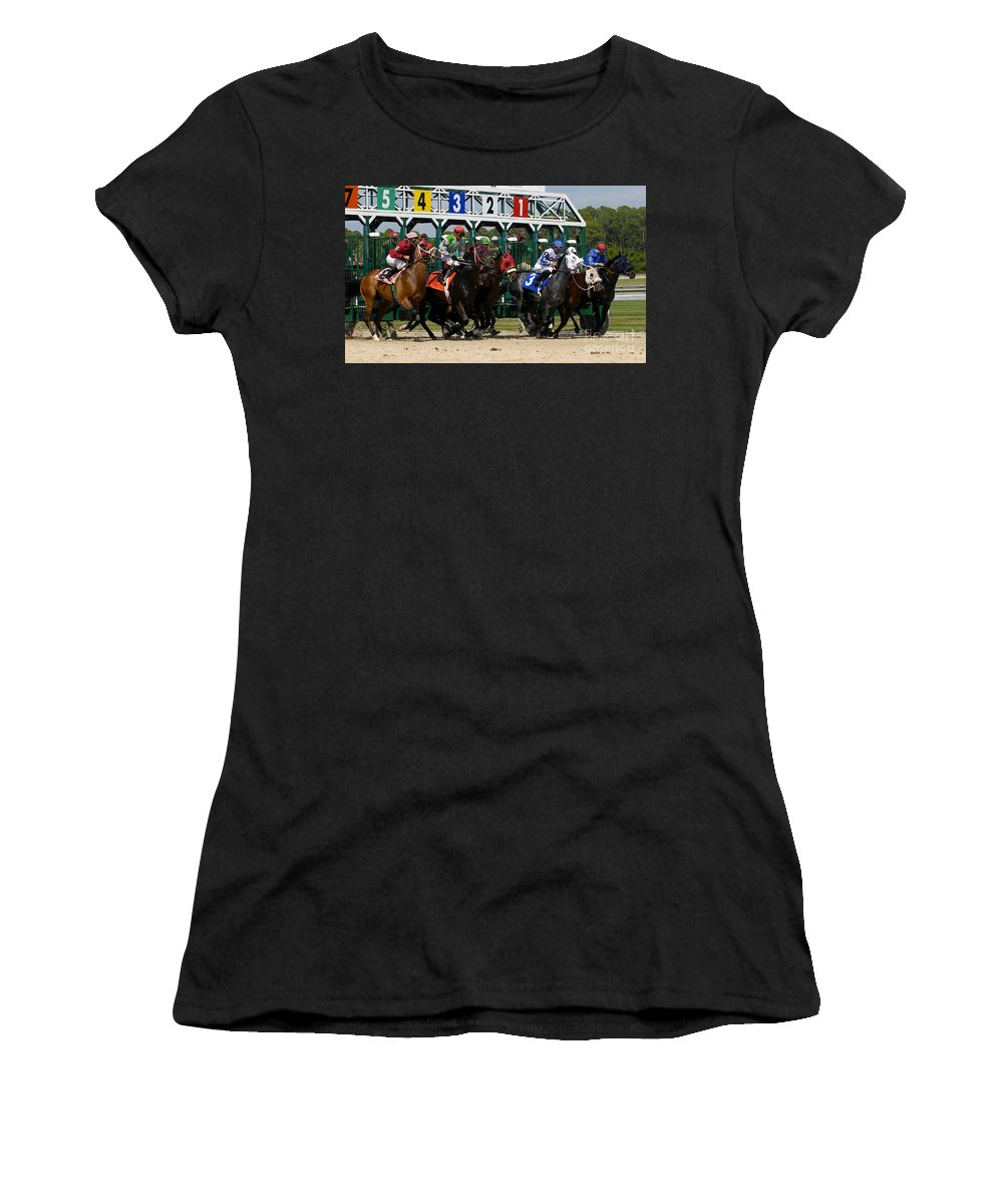Fine Art Photography Women's T-Shirt (Athletic Fit) featuring the photograph Out Of The Gate by David Lee Thompson