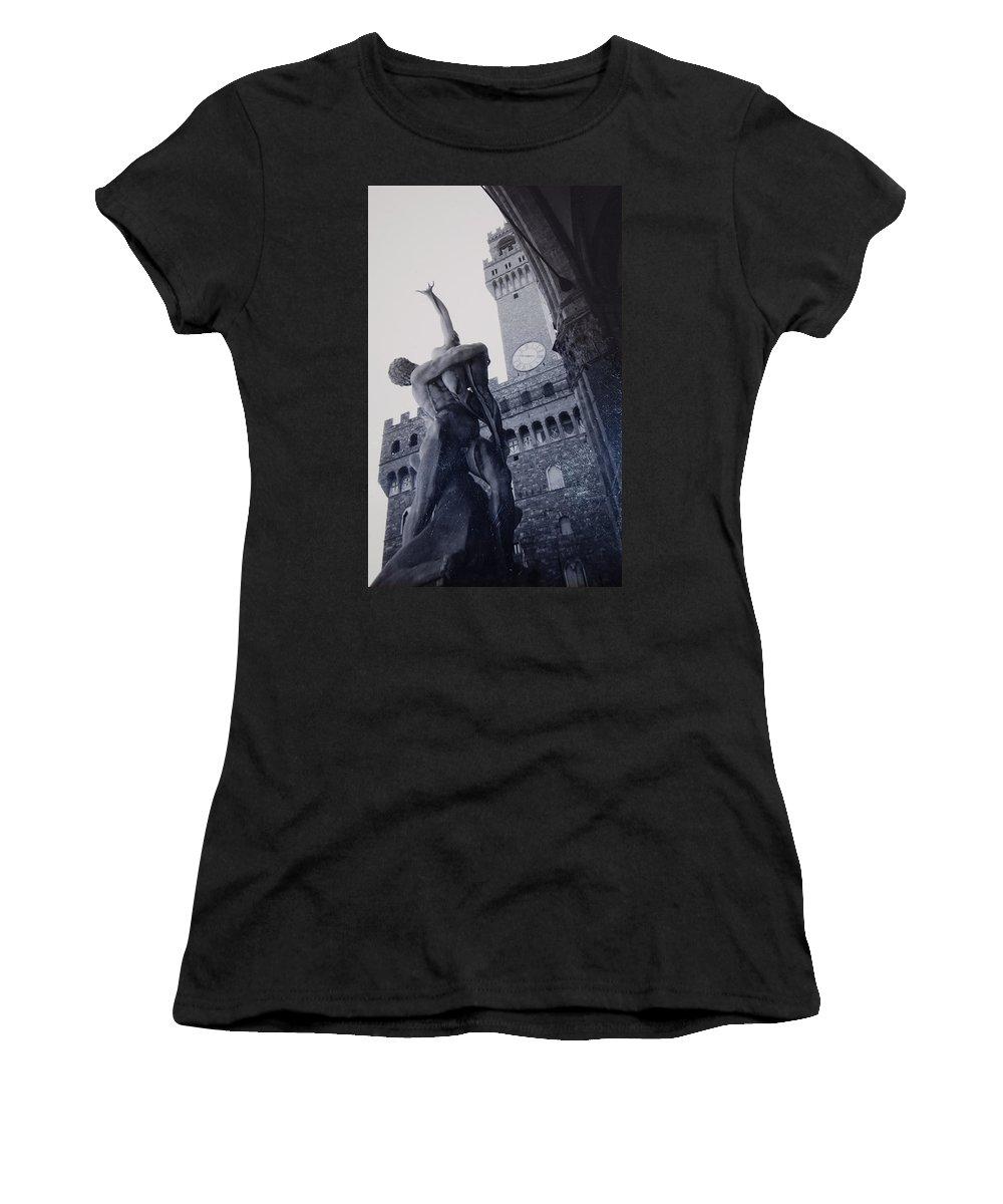 Florence Women's T-Shirt (Athletic Fit) featuring the photograph Palazzo Vecchio by Kurt Hausmann