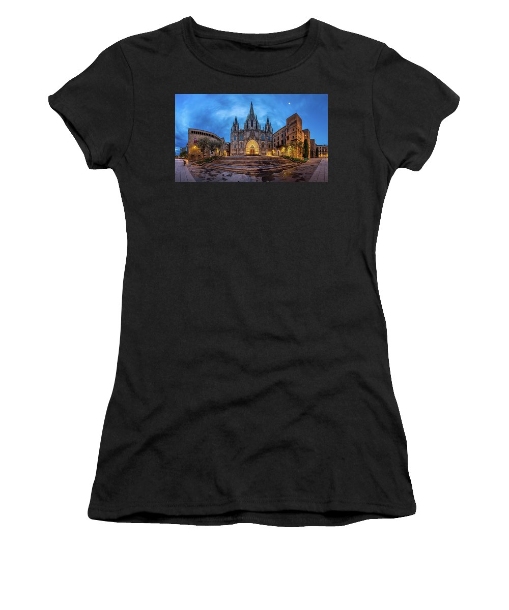 Ancient Women's T-Shirt (Athletic Fit) featuring the photograph Panorama Of Cathedral Of The Holy Cross And Saint Eulalia In The by Andrey Omelyanchuk