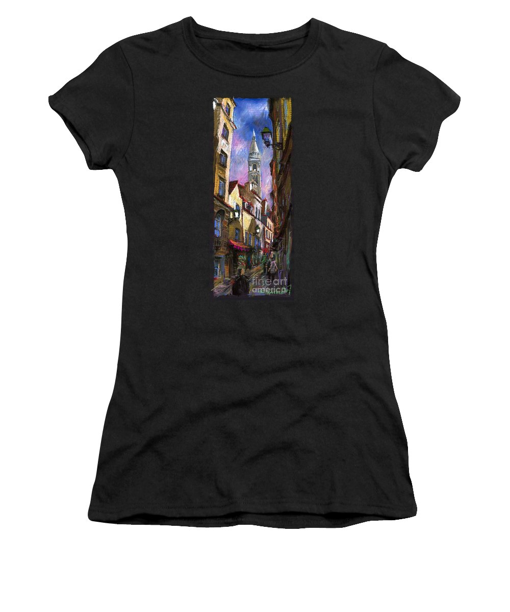 Pastel Women's T-Shirt (Athletic Fit) featuring the painting Paris Montmartre by Yuriy Shevchuk