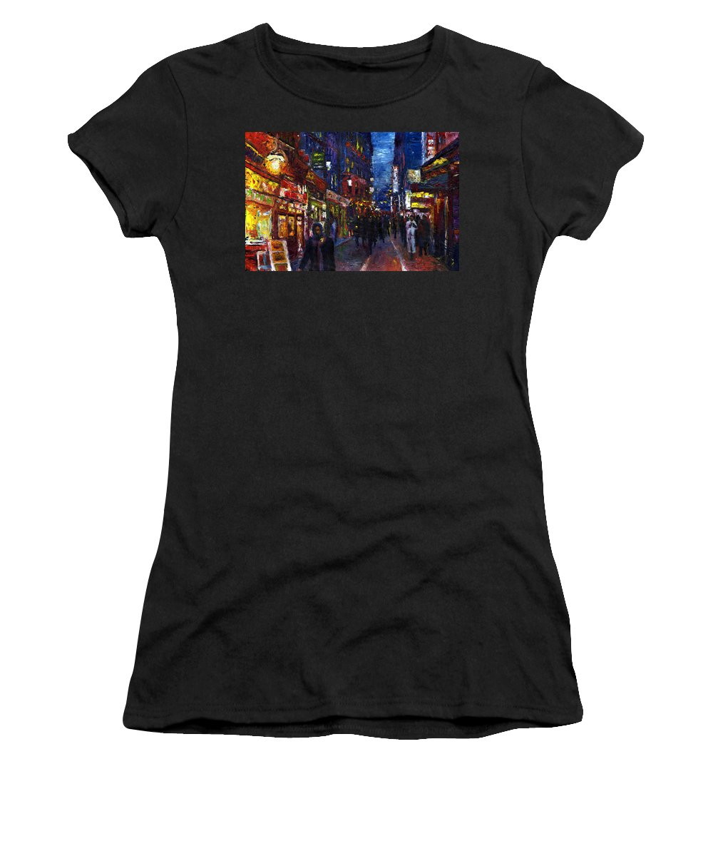 Oil Women's T-Shirt featuring the painting Paris Quartier Latin 01 by Yuriy Shevchuk