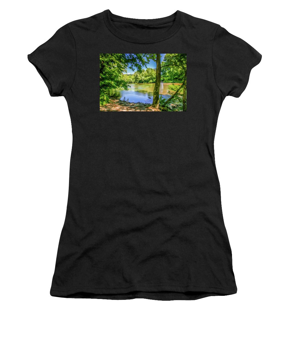 River Women's T-Shirt (Athletic Fit) featuring the photograph Peaceful On The River by Lisa Lemmons-Powers