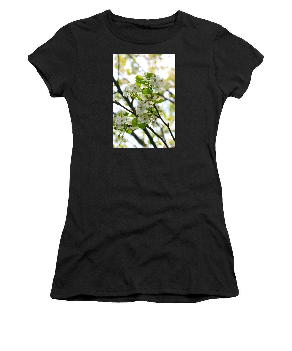 Pyrus Calleryana Women's T-Shirt (Athletic Fit) featuring the photograph Pear Tree Blossoms by Angela Rath