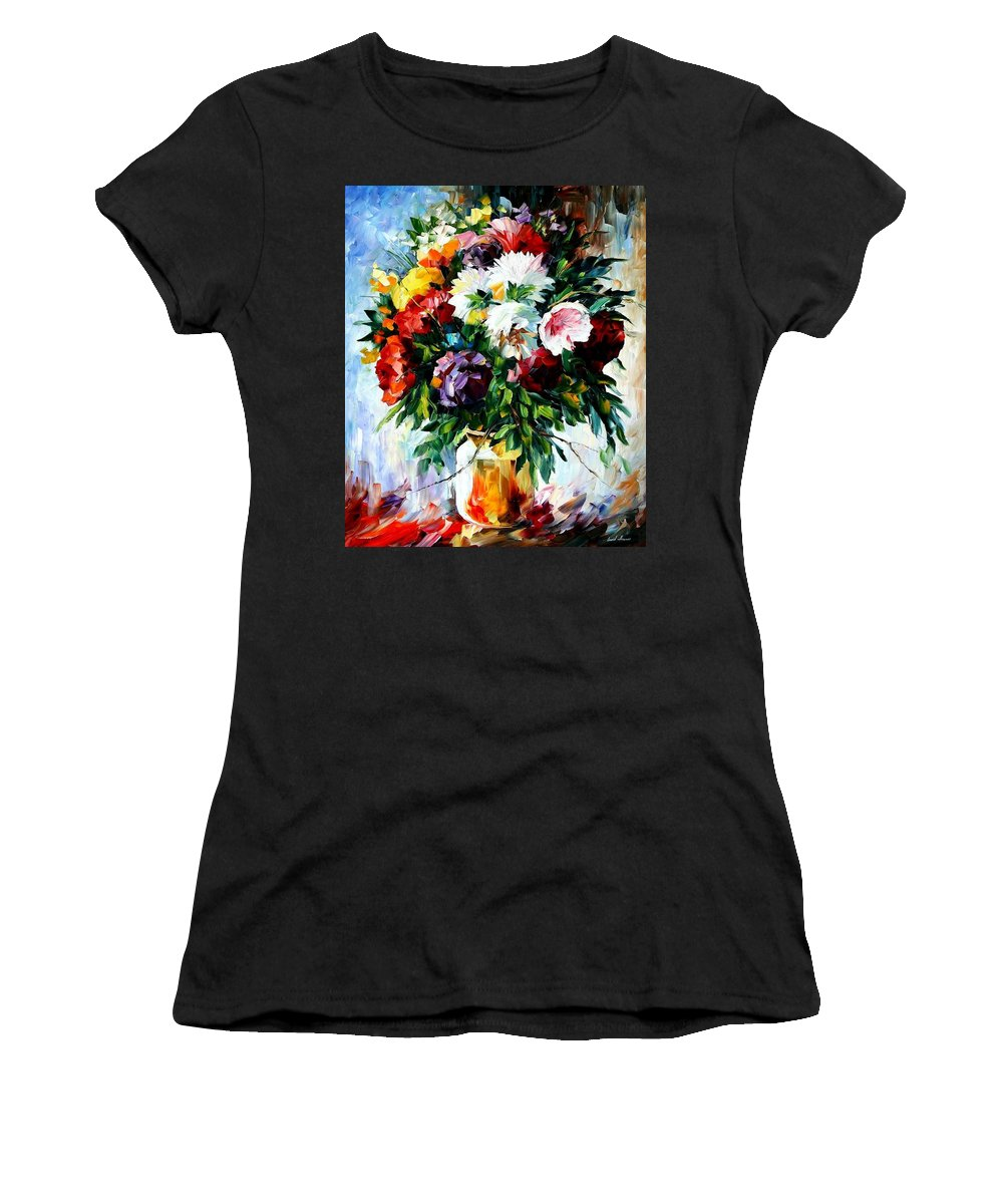 Afremov Women's T-Shirt (Athletic Fit) featuring the painting Peonies by Leonid Afremov
