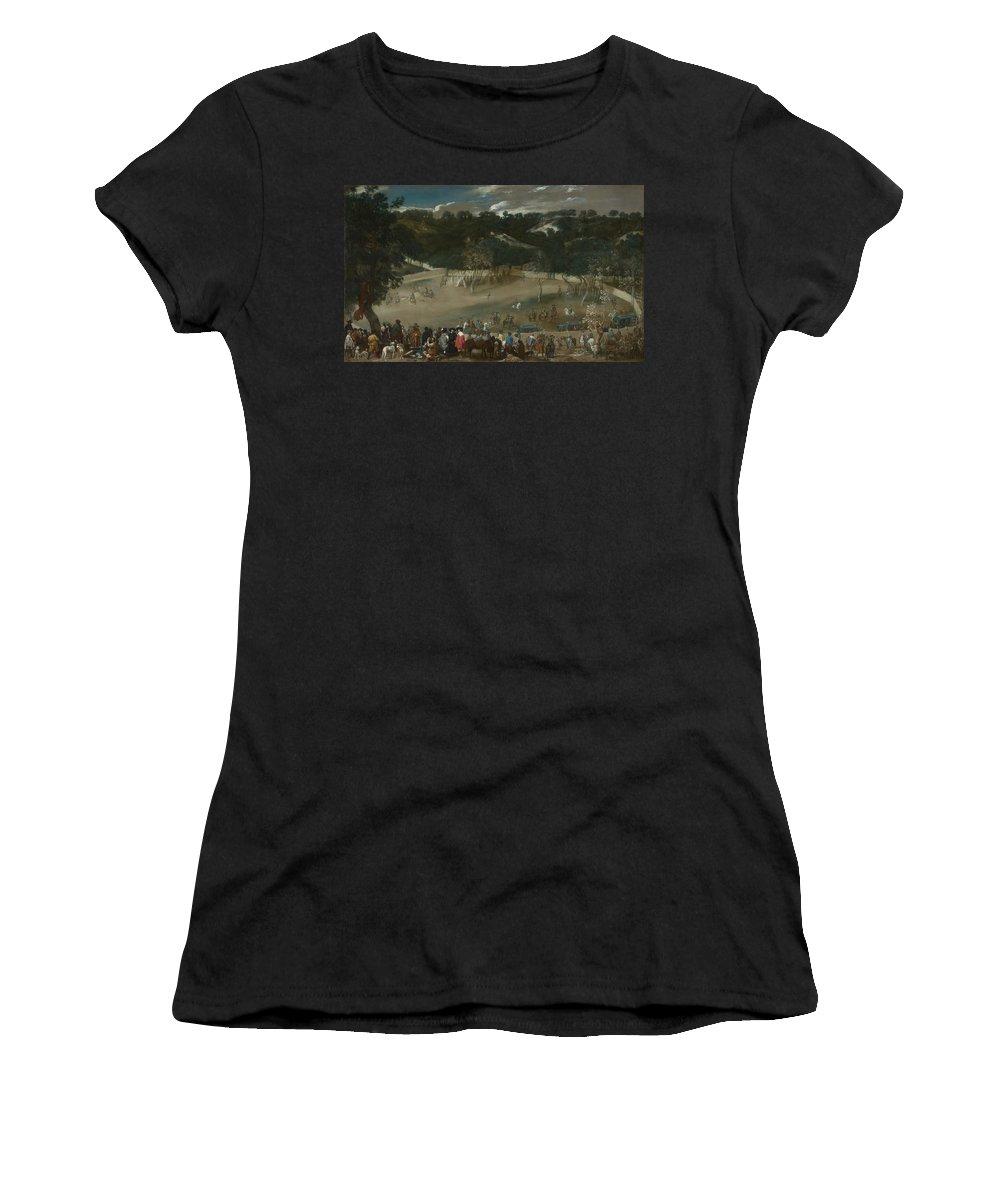 Diego Women's T-Shirt (Athletic Fit) featuring the digital art Philip Iv Hunting Wild Boar La Tela Real by PixBreak Art