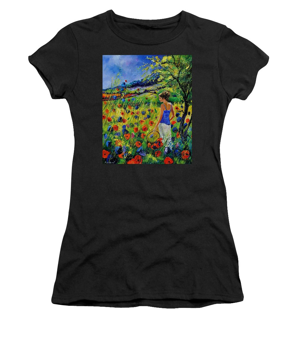 Flowers Women's T-Shirt (Athletic Fit) featuring the painting Picking Flowers by Pol Ledent