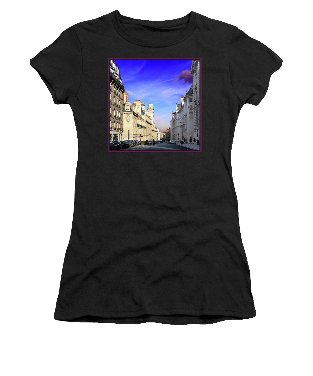 Paris Women's T-Shirt (Athletic Fit) featuring the photograph Pink Cloud In Paris by Guy Ciarcia
