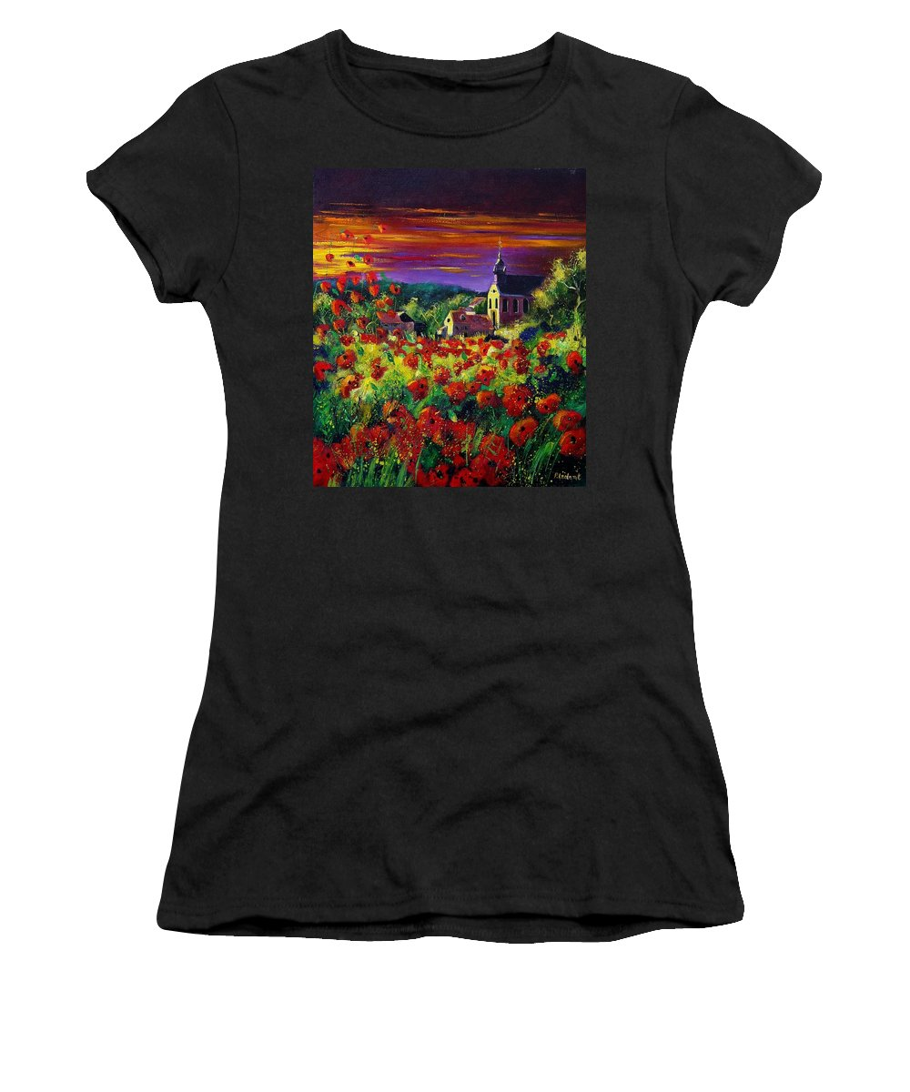 Flowers Women's T-Shirt (Athletic Fit) featuring the painting Poppies In Foy by Pol Ledent