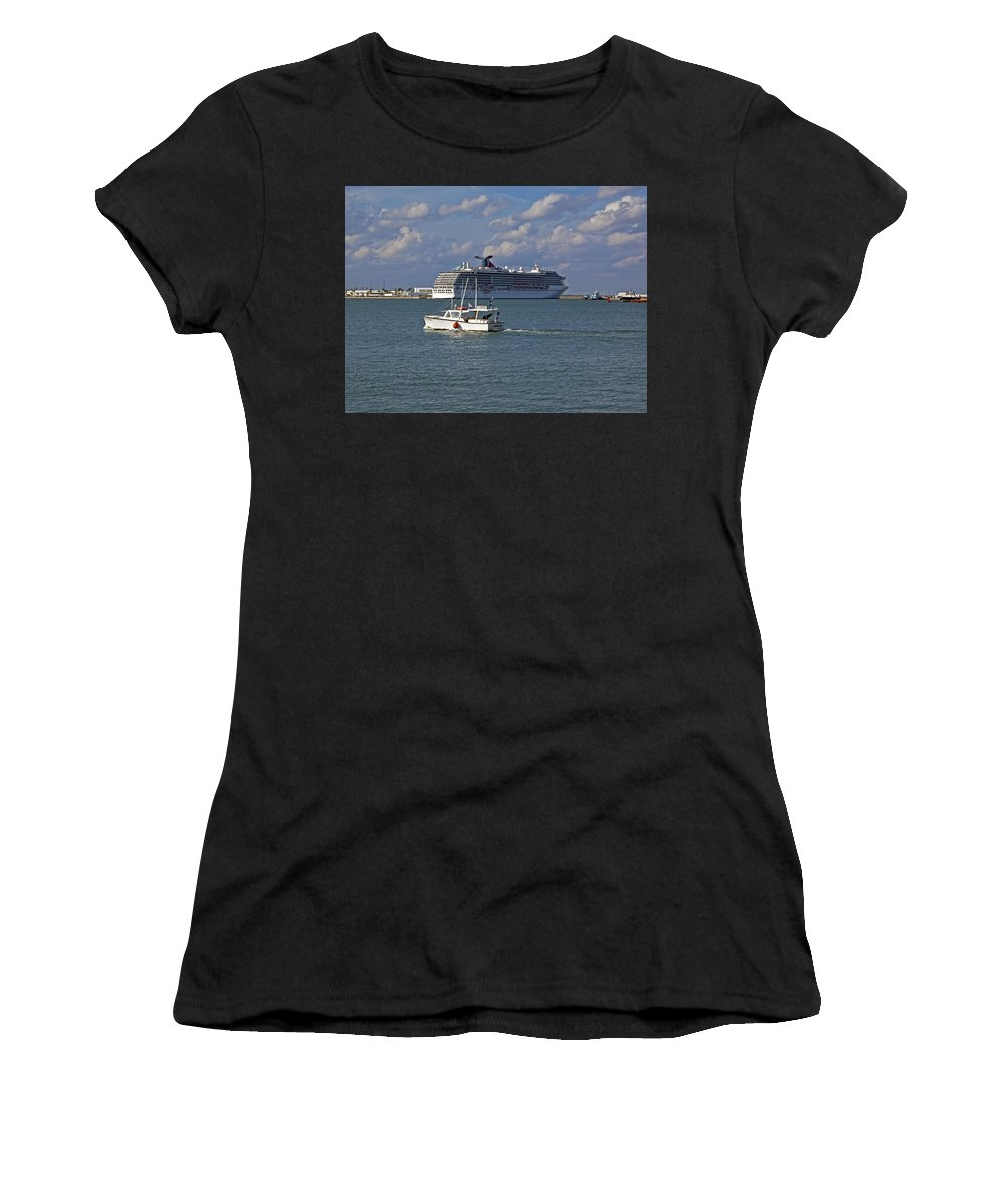 Port Women's T-Shirt (Athletic Fit) featuring the photograph Port Canaveral In Florida by Allan Hughes