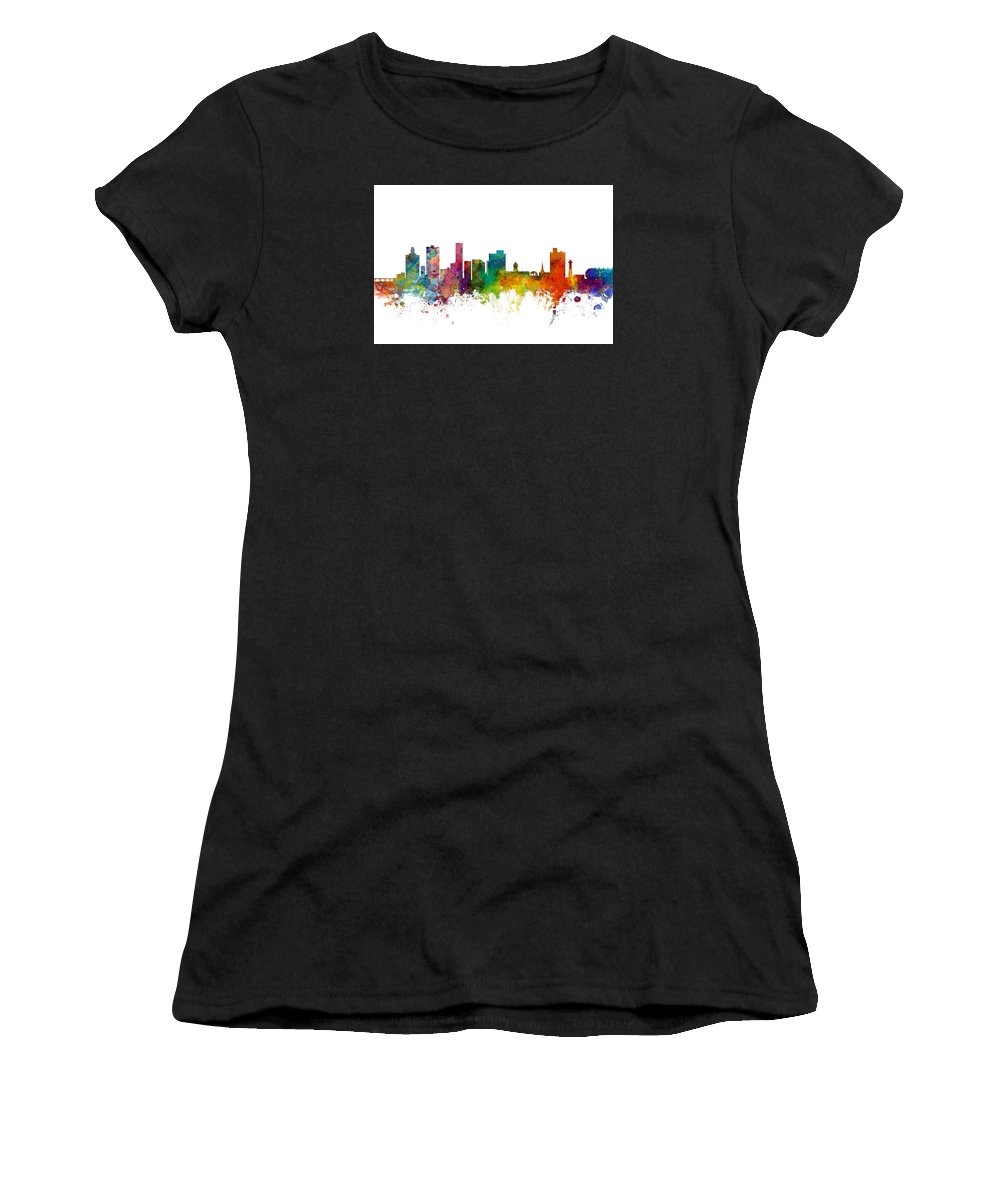 City Skyline Women's T-Shirt (Athletic Fit) featuring the digital art Port Elizabeth South Africa Skyline by Michael Tompsett