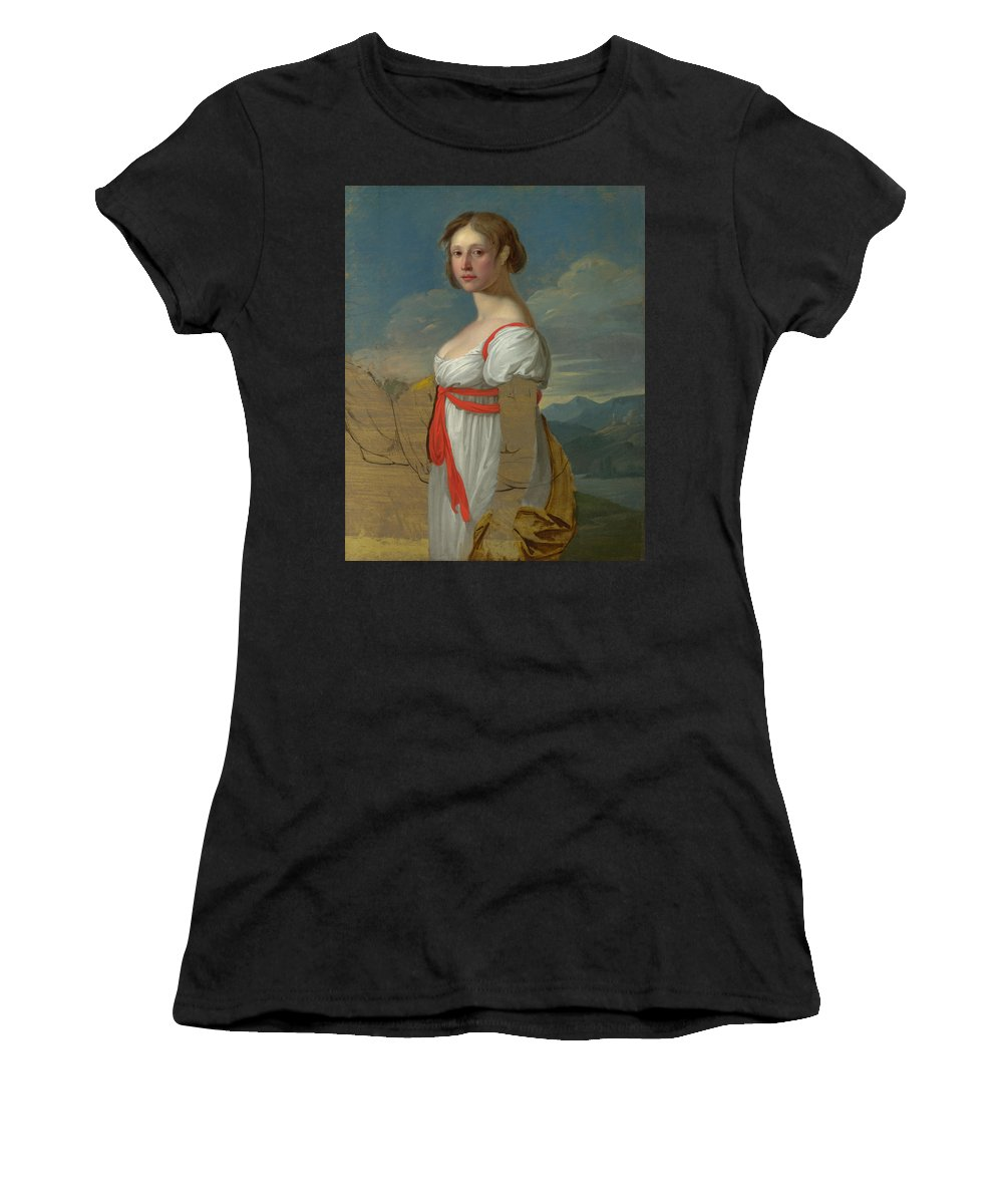 Italian Women's T-Shirt (Athletic Fit) featuring the digital art Portrait Of A Woman by PixBreak Art