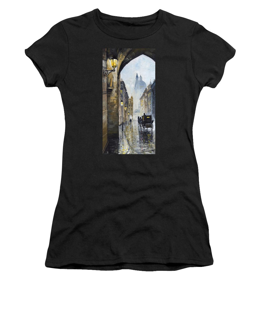 Prague Women's T-Shirt (Athletic Fit) featuring the painting Prague Old Street 01 by Yuriy Shevchuk
