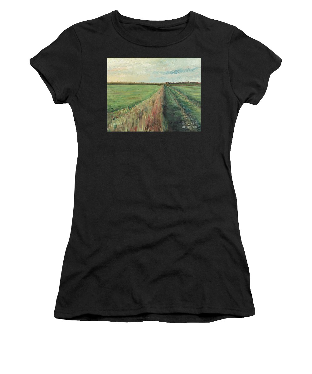 Provence Women's T-Shirt (Athletic Fit) featuring the painting Provence Villa by Nadine Rippelmeyer