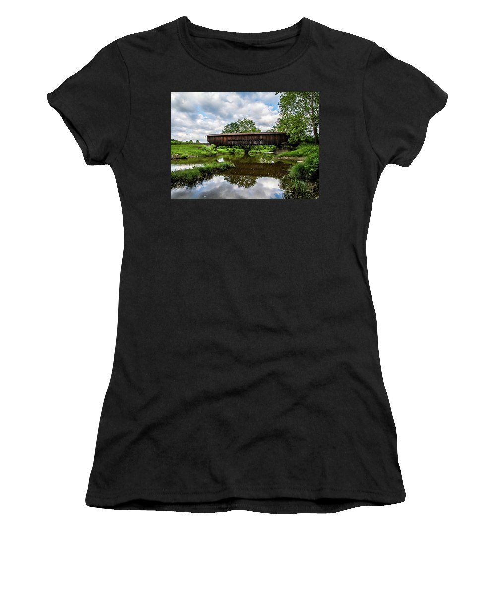 Artisans Women's T-Shirt (Athletic Fit) featuring the photograph Quiet Serenity Of A Ohio Backcountry Covered Bridege by Cary Leppert