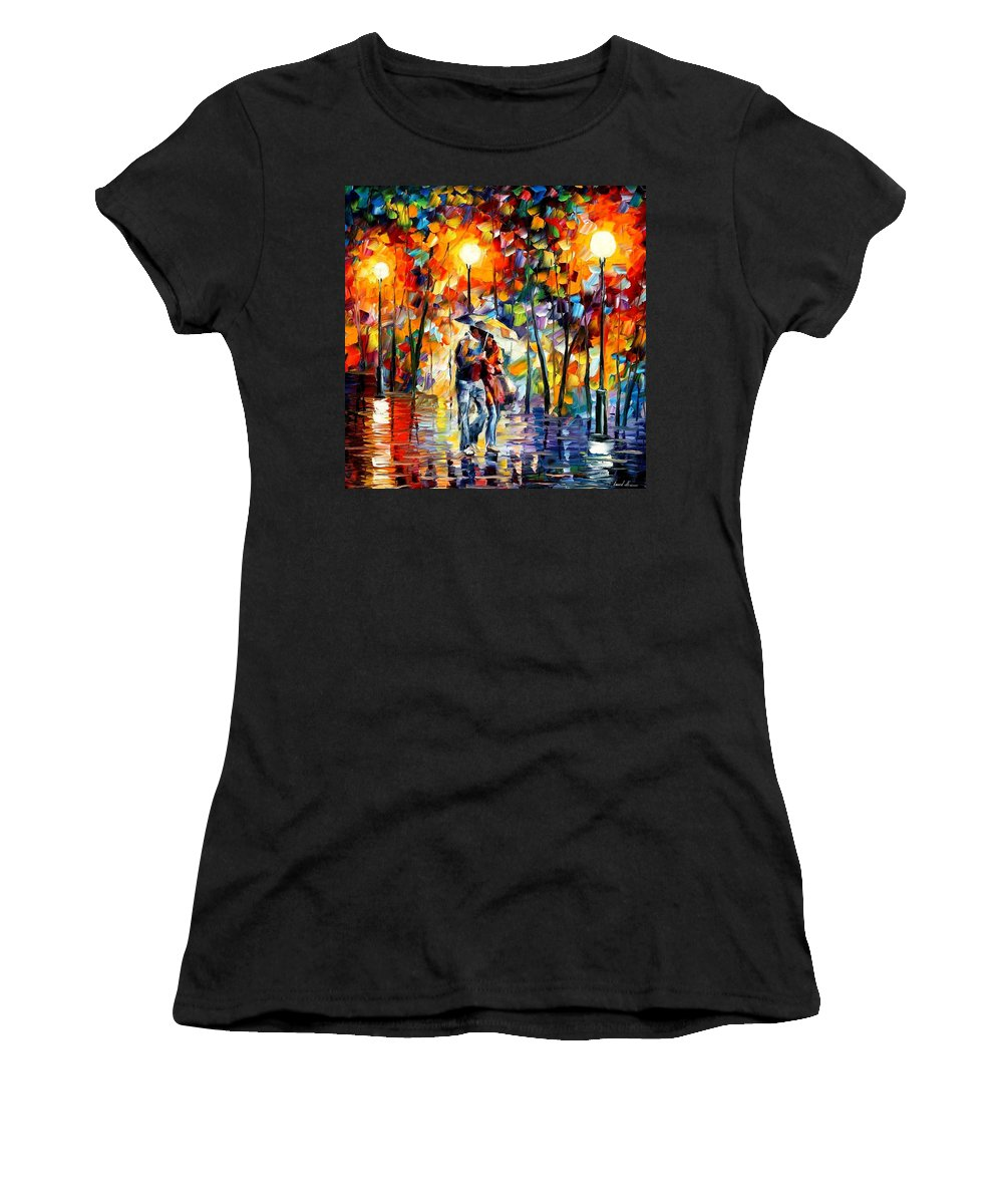 Afremov Women's T-Shirt (Athletic Fit) featuring the painting Rainy Evening by Leonid Afremov