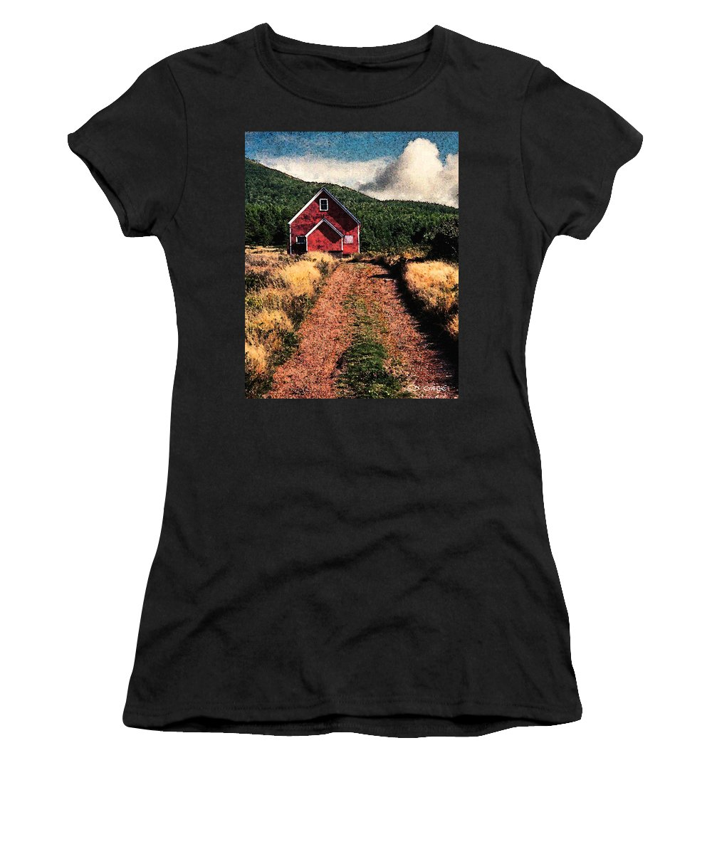 Red Barn Women's T-Shirt (Athletic Fit) featuring the photograph Red Barn Road by Ed A Gage