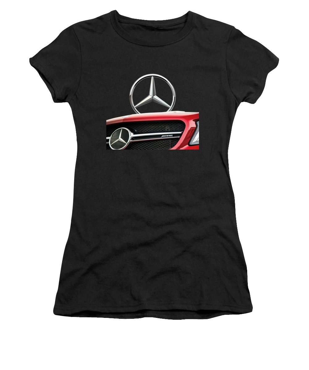 'auto Badges' By Serge Averbukh Women's T-Shirt featuring the photograph Red Mercedes - Front Grill Ornament And 3 D Badge On Black by Serge Averbukh