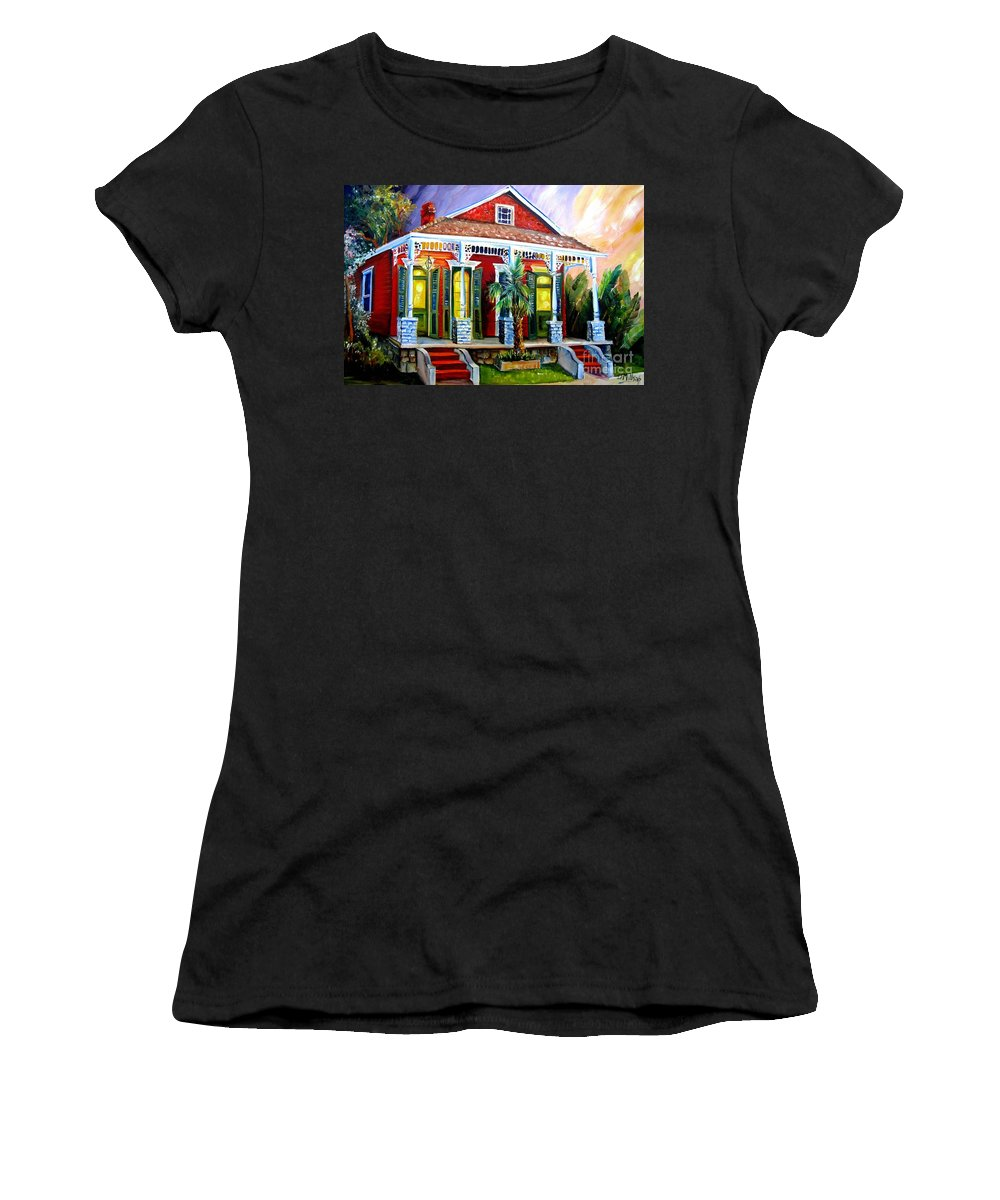 New Orleans Women's T-Shirt (Athletic Fit) featuring the painting Red Shotgun House by Diane Millsap