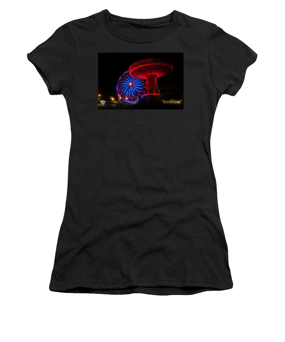 Florida State Fair Women's T-Shirt (Athletic Fit) featuring the photograph Red Wheels by David Lee Thompson